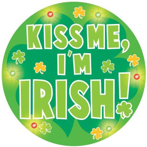 Flashing Button, Kiss Me I'm (Green Shamrock Flashing Pin)