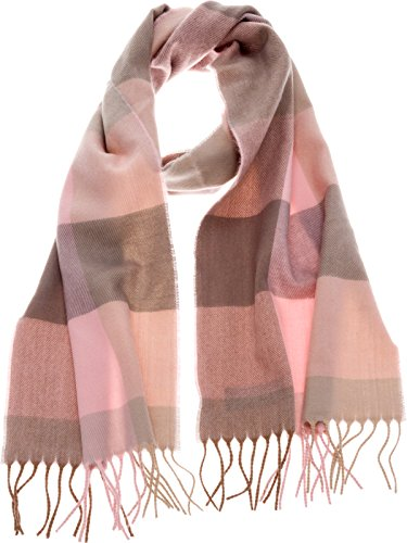 SilverHooks Soft & Warm Plaid Cashmere Scarf w/Gift Box (Pink & Taupe) - Pink Cashmere Scarf