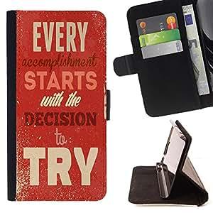 King Case - FOR Sony Xperia Z3 D6603 - decision the try - Prima caja de la PU billetera de cuero con ranuras para tarjetas, efectivo Compartimiento desmontable y correa para la mu?eca