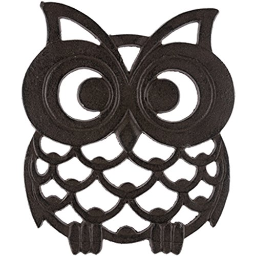 Rustic Cast Iron Metal Kitchen Trivet or Home Wall Decor (Owl)