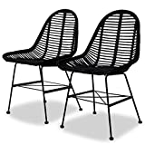 """Dining Chairs Set Natural Rattan Indoor&Outdoor Dining Chairs19.3"""" x 22"""" x 33"""" by BLUECC (2, Black)"""
