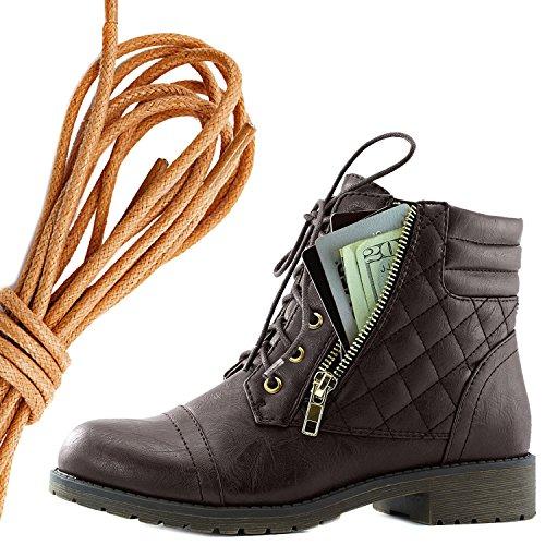 Dailyshoes Kvinners Militære Snøring Spenne Combat Boots Ankelen Høyt Eksklusivt Kredittkort Lomme, Tan Brun Pu