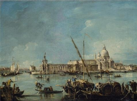 Oil Painting 'Francesco Guardi,View Of The Dogana And Santa Maria Della Salute,1767-1769' Printing On High Quality Polyster Canvas , 16x22 Inch / 41x55 Cm ,the Best Living Room Decoration And Home Gallery Art And Gifts Is This High Definition Art Decorative Canvas Prints -