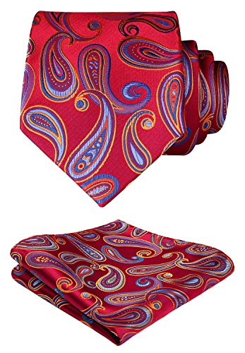 HISDERN Floral Paisley Wedding Tie Handkerchief Woven Classic Men's Necktie & Pocket Square Set Red & Blue