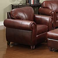 AT HOME DESIGNS Rolled Arm Design Leather Chair
