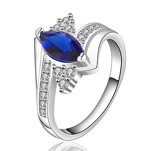 Fashion Lady Jewelry Blue Ocean Diamond Crystal 925 Silver Finger Ring(Q)