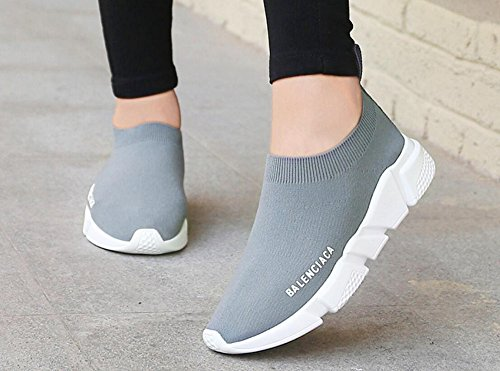 Womens Mens Löparskor Omforma Fritt Flyknit Mode Sneakers Från Jiye Grå