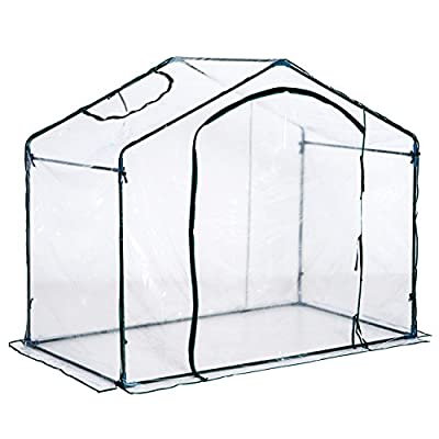 Outsunny 6' x 3.5' x 5' Outdoor Portable Walk-In Greenhouse w/Clear PVC Cover