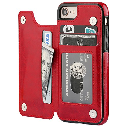 (iPhone 8 Wallet Case with Card Holder,OT ONETOP iPhone 7 Case Wallet Premium PU Leather Kickstand Card Slots,Double Magnetic Clasp and Durable Shockproof Cover 4.7 Inch (iPhone 7/iPhone 8 Red))