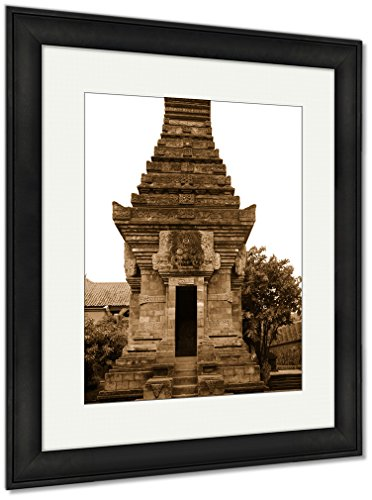 Ashley Framed Prints Miniature Of Hinduistic Temple In Park Taman Mini Indonesia, Wall Art Home Decoration, Sepia, 35x30 (frame size), Black Frame, AG5971837 by Ashley Framed Prints