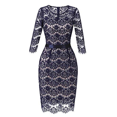 DoraMe Vestido ocasional del cóctel del Bodycon Dress de la boda del cuello O del cordón de las mujeres Azul3
