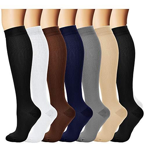 COOLOVER Compression Socks,(7pair) Compression Sock Women & Men - Best Running, Athletic Sports, Crossfit, Flight Travel - Maternity Pregnancy, Shin Splints - Below Knee High