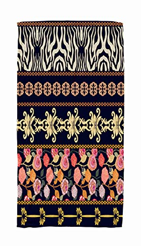Bath Towels for Travel,Art Vintage Silk with Ethnic Motifs and Bohemian Elements Zebra Print Damask Borders 30x60 Inch Large Pool Towels for Body Bath,Swimming,Travel,Camping,Sport