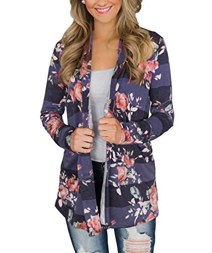 Chunoy Woman Plus Size Floral Striped Cardigan with Elbow Patch Shawl Blouse Top Blue XX-Large