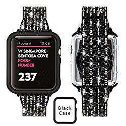 Rhinestone Black Stainless Steel Replacement Band For Apple Watch