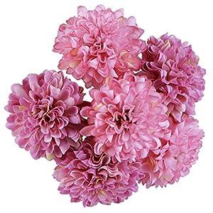 MARLLES Artificial Flowers-Mini Silk Hydrangea Fake Flowers Bridal Wedding Bouquet for Home Wedding Decoration, Flowers Bunch Hotel Party Garden Floral Decor(6PCS Purple) 9