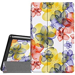 Fintie Slim Shell Case for Amazon Fire HD 8 (Previous Generation - 6th) 2016 release, Super Slim Lightweight Standing Cover with Auto Wake / Sleep, Floral Yellow