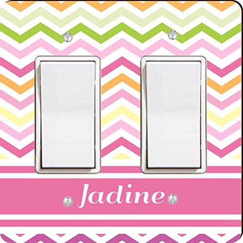 "Rikki KnightTM ""Jadine"" Pink Chevron Name Double Rocker Light Switch Plate"