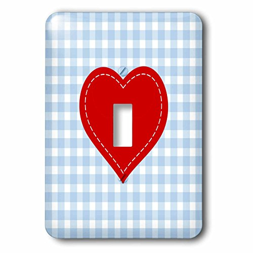 3dRose lsp_219291_1 Red Heart with White Stitch detail over Blue Gingham Single Toggle Switch,