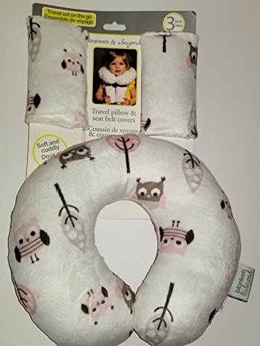 Blankets & Beyond Travel Pillow & Seat Belt Cover - White, Pink & Grey Owls (Travel Pillow Kids Sunshine)