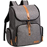 ALLCAMP Urban Diaper Bag Large Capacity, Stroller Straps, Changing Pad, Grey
