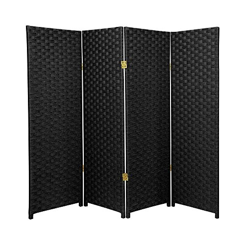 MD Group Room Divider Woven Fiber 4-ft Tall 4-Panel Black Foldable Double Sided Lightweight by MD Group