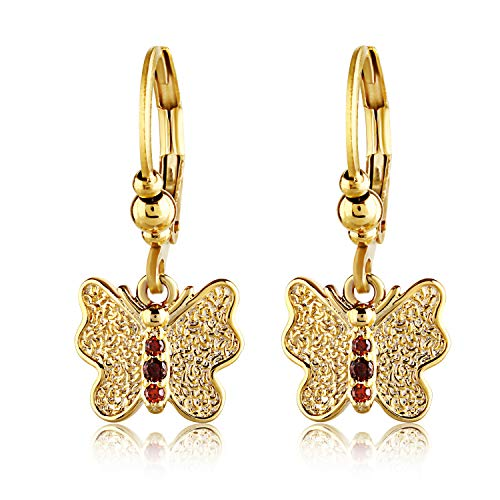 - Young Girl's Drop Earrings for Sensitive Ears - Red Crystal Butterfly Shaped Jewelry