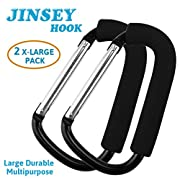 2 Pack Large Stroller Hook Set for Mommy by JINSEY. Two Great Organizer Accessories for Hanging Diaper & Shopping Bags & Purses. Clip Fits All Single and Twin Travel Systems & Baby Joggers