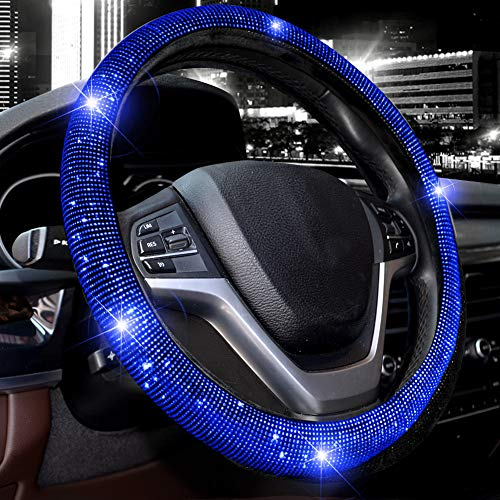 Valleycomfy Steering Wheel Cover for Women Bling Bling Crystal Diamond Sparkling Car SUV Wheel Protector Universal Fit 15 Inch (Black with Blue Diamond)