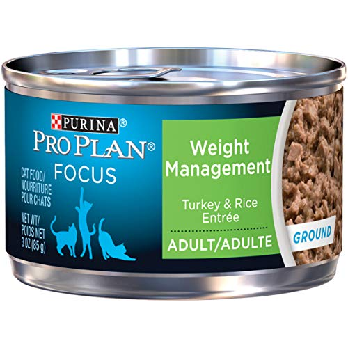 Purina Pro Plan Weight Control Pate Wet Cat Food, FOCUS Weight Management Turkey & Rice Entree – (24) 3 oz. Pull-Top Cans