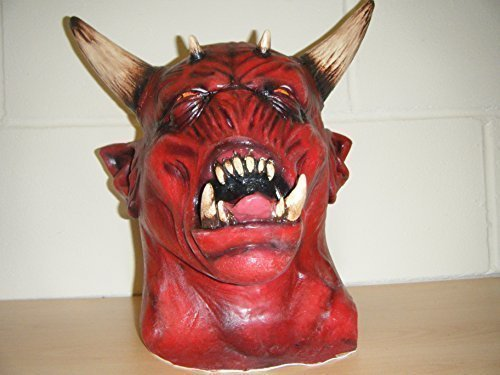 WRESTLING MASKS UK Devil Zombie Monster Horns Horror Deluxe Halloween Full Head Fancy Costume Mask