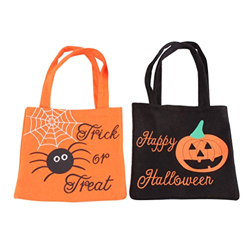 Halloween Candy Bag with Handle Small Trick Or Treat Goodie Bag for Kids Pack of 2