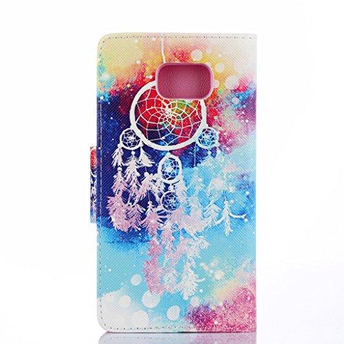 Qimmortal - Funda tipo cartera para Samsung Galaxy S7, piel sintética, diseño colorido, función atril plegable magnética, con tarjetero, incluye protector de pantalla de cristal templado, piel sintéti Campanas de viento