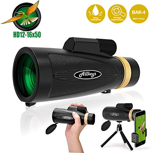 12X50 High Power HD Monocular with Smartphone Holder Tripod