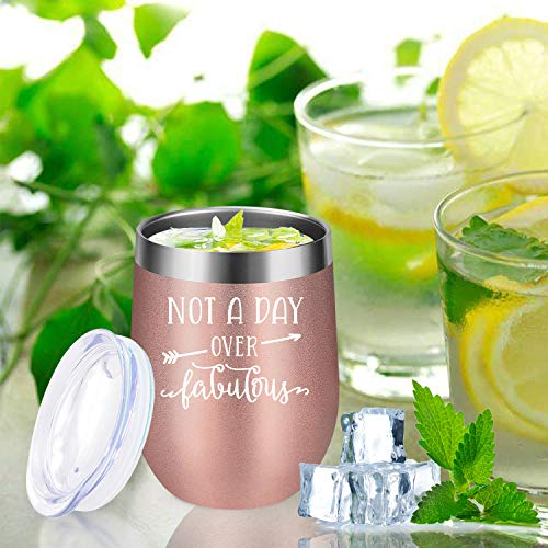 Not A Day Over Fabulous - LEADO Stainless Steel Insulated Wine Tumbler with Lid - Funny Novelty Birthday Mothers Day Retirement Gifts Ideas for Her Women - 30th 40th 50th 60th 70th Party Decorations by LEADO (Image #7)