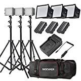 Neewer® CN-216 Ultra High Power Panel Dimmable LED Video Light Kit with Large Deluxe Bag to Carry All Lights& Accessories for Canon, Nikon, Sony and Other Digital SLR Cameras
