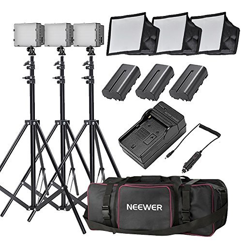 Neewer® CN-216 Ultra High Power Panel Dimmable LED Video Light Kit with Large Deluxe Bag to Carry All Lights& Accessories for Canon, Nikon, Sony and Other Digital SLR Cameras by Neewer