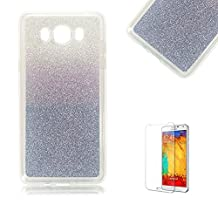 Samsung Galaxy S6 Edge Case [with Free Screen Protector], Funyye Luxury Bling Glitter Shiny Sparkly Crystal Clear Ultra Slim Thin dark Blue Gradual Colour Changing Protective TPU Soft Silicone Rubber Gel Bumper Case Cover for Samsung Galaxy S6 Edge