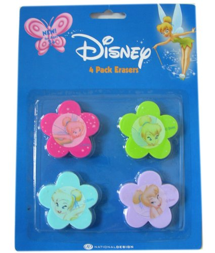 Tinkerbell Erasers - Disney Fairies Stationery Collection - 2pack Tinker Bell erasers