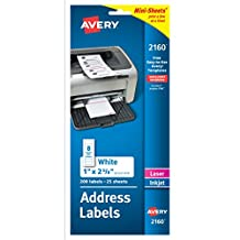 Avery Mini-Sheets Laser/Ink Jet Labels, 1 x 2.625 Inches, White, 200 per Pack (2160)