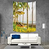smallbeefly Seaside Beach Throw Blanket Palm Trees Umbrella and Chairs Around Swimming Pool in Hotel Resort Image Vertical Version Tapestry 70W x 84L INCH Yellow Green and Tan