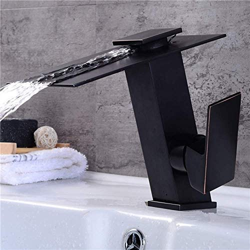WXQ-XQ 美しい実用的なバスルーム洗面台のフル銅ブラックチルト滝の蛇口温水と冷水空調現代のファッションシンプルな単穴の蛇口