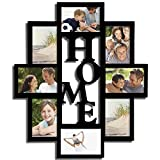"""Adeco [PF0015-B] Adeco Decorative Black Wood """"Home"""" Wall Hanging Picture Photo Frame Collage, 4 x 6"""", 8 Openings"""