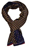 Ellettee, 63'' x 11'' Man's 100 Pure silk scarf wrap Accessory gift (BlueGold Chain)