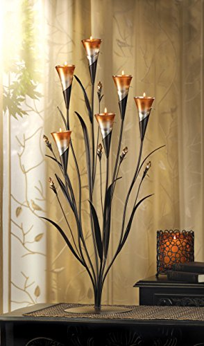 Menorah Tealight Lily Candle Holder Wedding Pillar Votive Iron Unity Lantern Dining Centerpiece Decorative Calla Lily Unity Pillar Candle