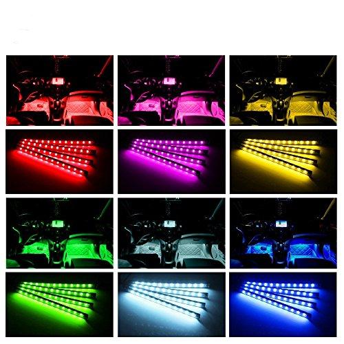 SJPLIght Car LED Strip Lights, 4 Pcs 48 LEDs Car Interior RGB Music Atmosphere Floor Underdash Lights, APP Control Bluetooth Light Kit for Iphone/Android/Google Phones by SJPLIght (Image #7)'