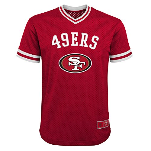 NFL San Francisco 49ers Youth Boys Twill V-Neck Mesh Fashion Top Crimson, Youth Small(8)