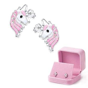 a0938d31b338 Unicornio Stud Pendientes Aretes Rosa Claro espumoso para niñas pequeñas  niños Joyería Fiesta de cumpleaños con Caja de Regalo de Terciopelo   Amazon.es  ...