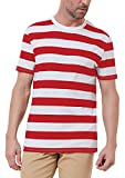 red and white shirt - PAUL JONES Red and White Striped Casual Tee for Men Short Sleeve Crew Neck