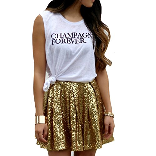 Aisa Women's Skirts Sexy Pleated Miniskirts with Golden Sequins Size X-Large